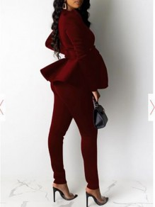 Burgundy Bow V-neck Puff Long Sleeve Ruffle Peplum Work Two Piece Long Jumpsuit