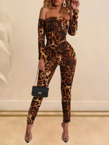 Brown Leopard Pattern Off Shoulder Backless Tie Back Bodycon Long Jumpsuit