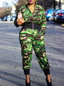 Green Camouflage Print Pockets Turndown Collar Two Piece Casual Long Jumpsuit