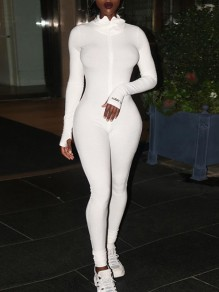 White Zipper High Neck Long Sleeve Bodysuit Sports Long Jumpsuit With Gloves