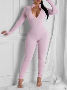 Pink Zipper V-neck Long Sleeve Bodysuit Pajama Jam Casual Long Jumpsuit With Gloves