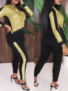 Gold-Black Patchwork Sequin Zipper Sparkly Glitter Two Piece Long Jumpsuit
