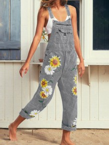 Grey Sunflower Print Pockets Shoulder-Strap Wide Leg Palazzo Pants Long Overall Jeans