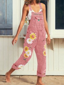 Pink Sunflower Print Pockets Shoulder-Strap Wide Leg Palazzo Pants Long Overall Jeans