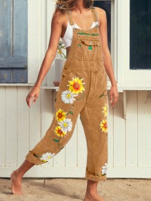 Khaki Sunflower Print Pockets Shoulder-Strap Wide Leg Palazzo Pants Long Overall Jeans