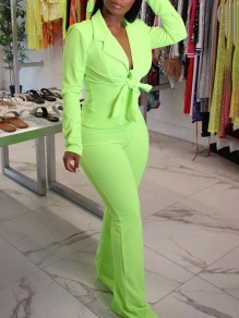 Neon Green Turndown Collar Lace-up Long Sleeve Blazer Two Piece High Waisted Flare Bell Bottom Long Jumpsuit