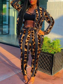 Brown-Black Striped Leopard Pattern High Waisted Two Piece Long Jumpsuit