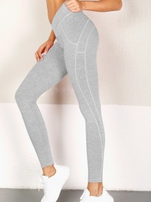 Light Grey Striped Ruched High Waisted Peach Heart Stretch Yoga Sports Long Legging