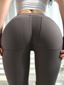 Coffee Skinny High Waisted Yoga Sports Five's Legging