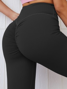 Black Pleated Skinny Yoga High Waisted Fashion Sports Legging