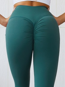 Dark Green Pleated Skinny Yoga High Waisted Fashion Sports Legging