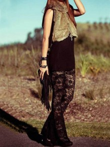 Black Floral Lace Flare Bell Bottom Bohemian Vintage Long Legging
