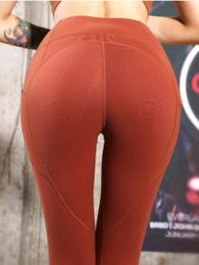 Caramel Colour Striped Pockets Heart Pattern Peach Hip Sports Yoga Long Legging Jogging Pants