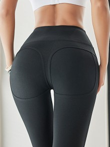 Black Peach Hip High Waisted Stretch Yoga Sports Long Legging Jogging Pants