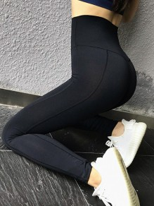 Black Striped Sports Skinny Yoga Long Legging Jogging Pants