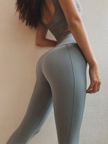 Grey Blue Striped Sports Skinny Yoga Long Legging Jogging Pants