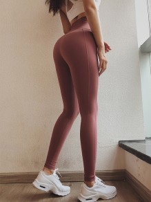 Rose Carmine Striped Sports Skinny Yoga Long Legging Jogging Pants