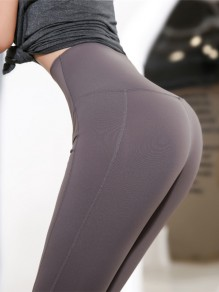 Coffee Striped Sports Skinny Yoga Long Legging Jogging Pants