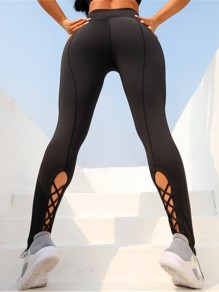Black Patchwork Cut Out High Waisted Sports Nine's Legging