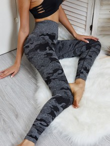 Black Camouflage Print High Waisted Fashion Long Legging