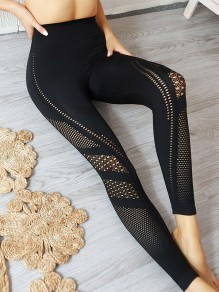 Black Patchwork Cut Out Skinny High Waisted Sports Legging