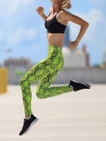 Green Snake Skin Print Skinny High Waisted Sports Legging