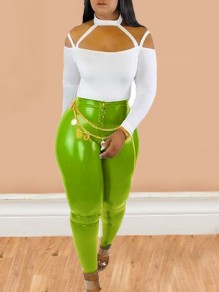 Neon Green Buttons High Waisted Latex Vinly Clubwear Party Long Legging