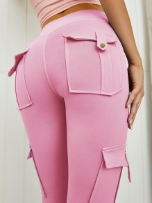 Pink Pocket Elastic Waist High Waist Fashion Long Legging