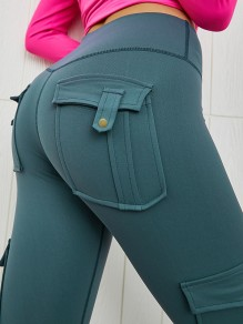 Green Pocket Elastic Waist High Waist Fashion Long Legging