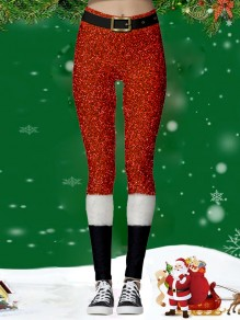 Red Belt Christmas Santa Print Sports Yoga Workout Long Legging