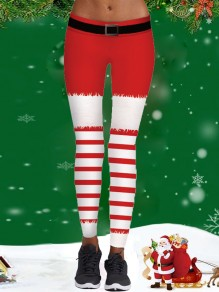 Red Belt Christmas Santa Striped Print Sports Yoga Workout Long Legging