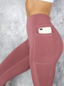 Pink Patchwork Grenadine Pocket Elastic Waist High Waisted Yoga Long Legging