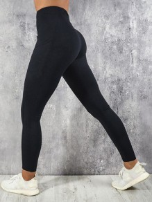 Black Pocket Elastic Waist High Waisted Yoga Long Legging