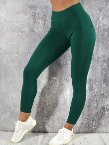 Green Pocket Elastic Waist High Waisted Yoga Long Legging