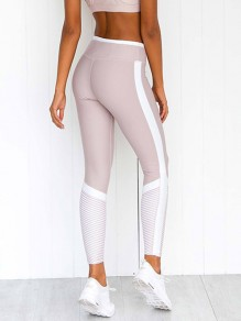 White Striped Print Elastic Waist High Waisted Yoga Long Legging