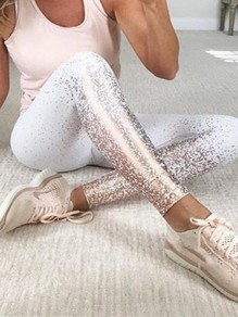 White Patchwork Print Bronzing High Waisted Sports Yoga Long Legging