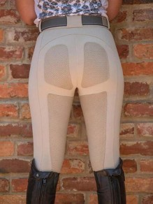Beige Patchwork Pockets High Waisted Riding Push Up Sports Long Legging