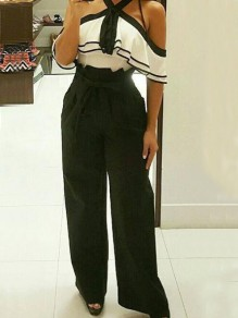 Black Pockets Sashes Peplum Office Worker Palazzo Wide Leg Long Pants