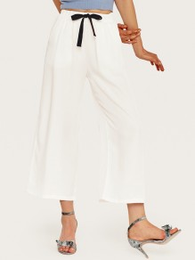 White Drawstring High Waisted Fashion Casual Wide Leg Palazzo Pants