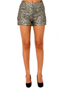 Silver Patchwork Sequin Bodycon High Waisted Sparkly Glitter Birthday Short Pant