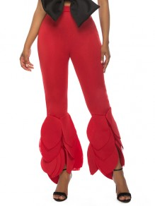 Red Cascading Ruffle Bodycon High Waisted Bell Bottomed Flares Long Pant