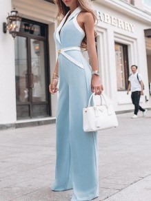 Blue Going out Comfy Fashion Elegant High Waisted Wide Leg Long Jumpsuit