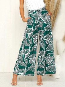 Green Floral Print Pockets Elastic High Waisted Casual Bohemian Wide Leg Long Pants