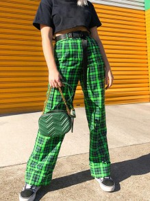 Green-Black Plaid Buttons High Waisted Casual Palazzo Wide Leg Long Pants