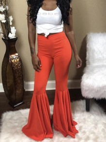 Orange Draped High Waisted Extreme Flare Bell Bottom Vintage Long Pants