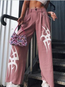 Pink Letter Restyle Witchcraft Gothic High Waisted Wide Leg Cargo Casual Rave Long Pants