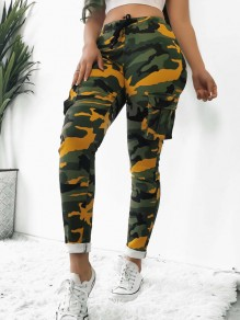 Yellow Camouflage Pockets High Waisted Casual Harem Long Pant