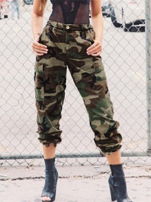 Camouflage Pockets High Waisted Casual Harem Long Pant