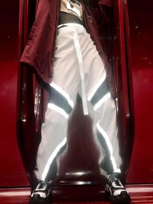 White Patchwork Draped High Waisted Reflective Music Festival Cargo Long Pants