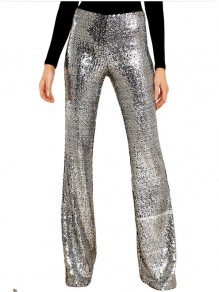 Silver Patchwork Sequin Glitter Sparkly Party High Waisted Bell Bottomed Flares Long Pant
